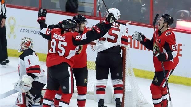 843cde45baa Mark Stone's 5-point night helps Senators beat Devils   CBC Sports