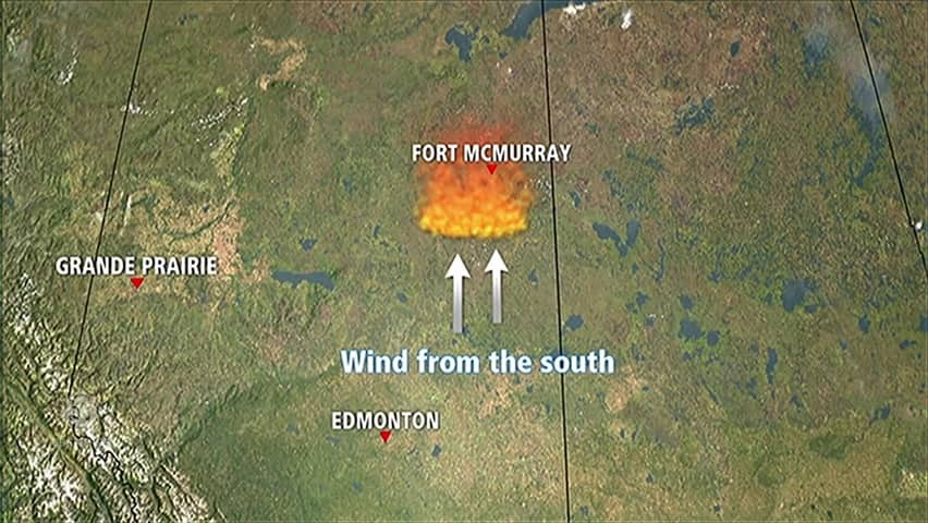 Fort Mcmurray Wildfire Map.Map Of Wind Driving The Fort Mcmurray Fire Cbc Player