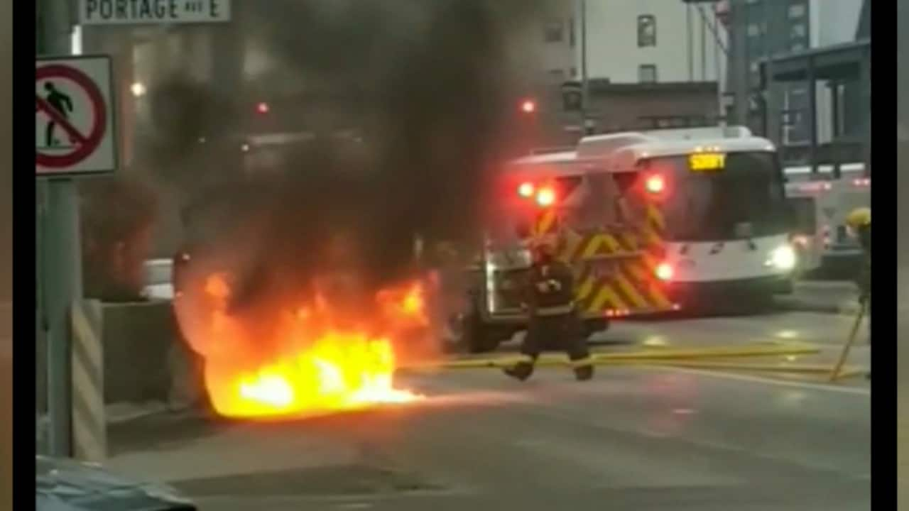 car fire at portage and main - cbc player