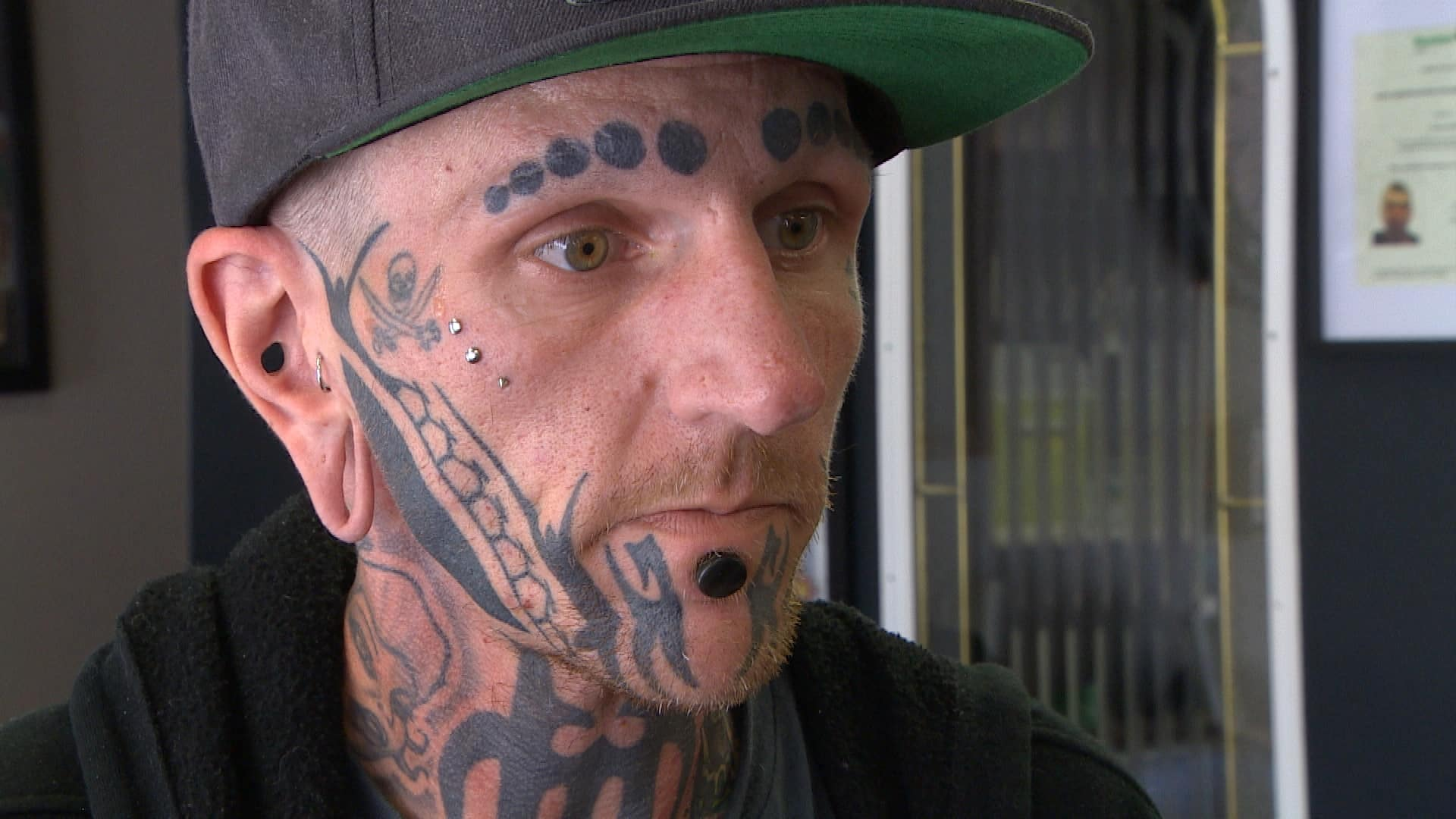 Man with face tattoos denied entry to bar