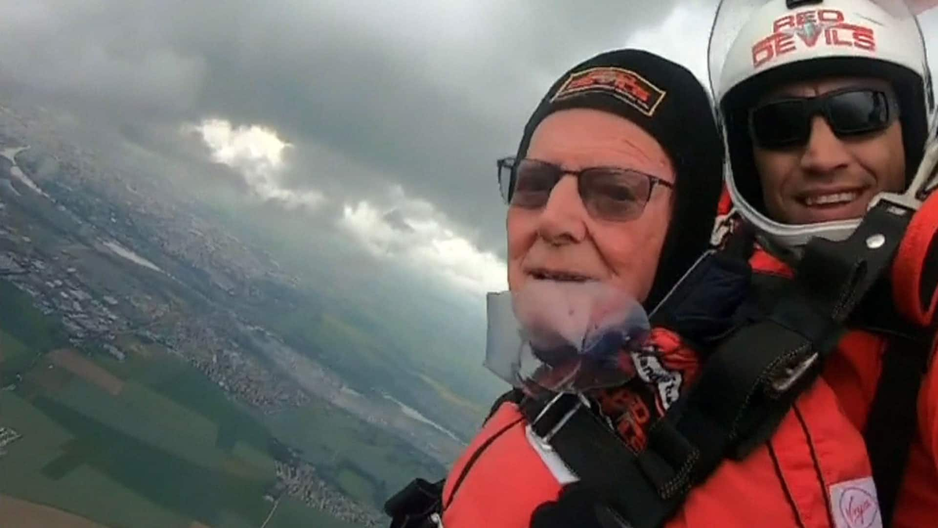 Watch these British veterans recreate D-Day parachute jump over Normandy