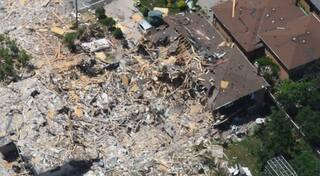 Aerial video of house explosion in Mississauga, Ont
