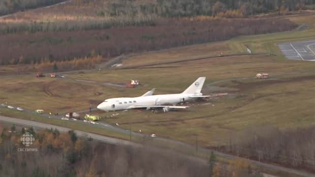 Aerial view of where a 747 cargo jet ended up after going off Halifax  airport runway