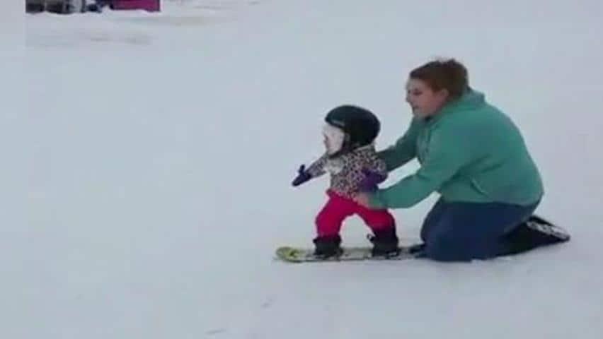 nova scotia baby goes snowboarding cbc player