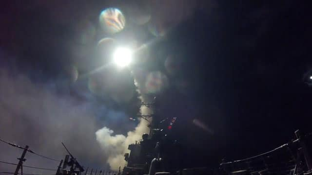 Tomahawk missiles fired from U S  warship in the Mediterranean Sea