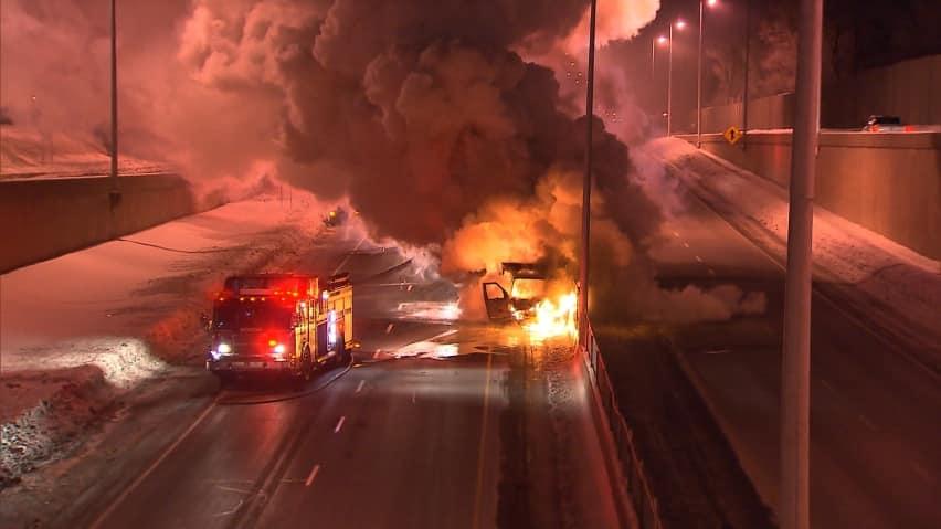 RAW: Ambulance in flames on Hwy 20