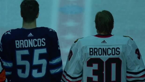 Jets and Blackhawks honour Humboldt Broncos e308e9b57
