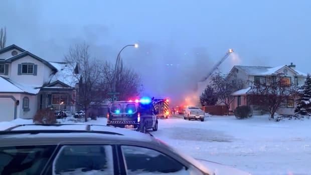 Firefighters battle blaze after explosion destroys Calgary house