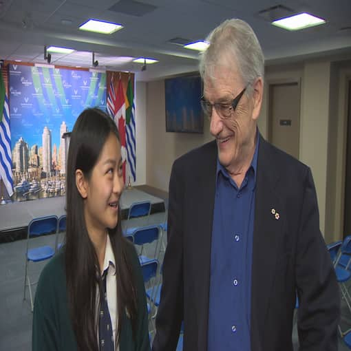 George Bowering Meets 14 Year Old Girl Who Helped Save His Life Cbc News
