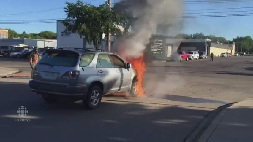 Suv Catches On Fire While Driving In Saskatoon Saskatoon Cbc News